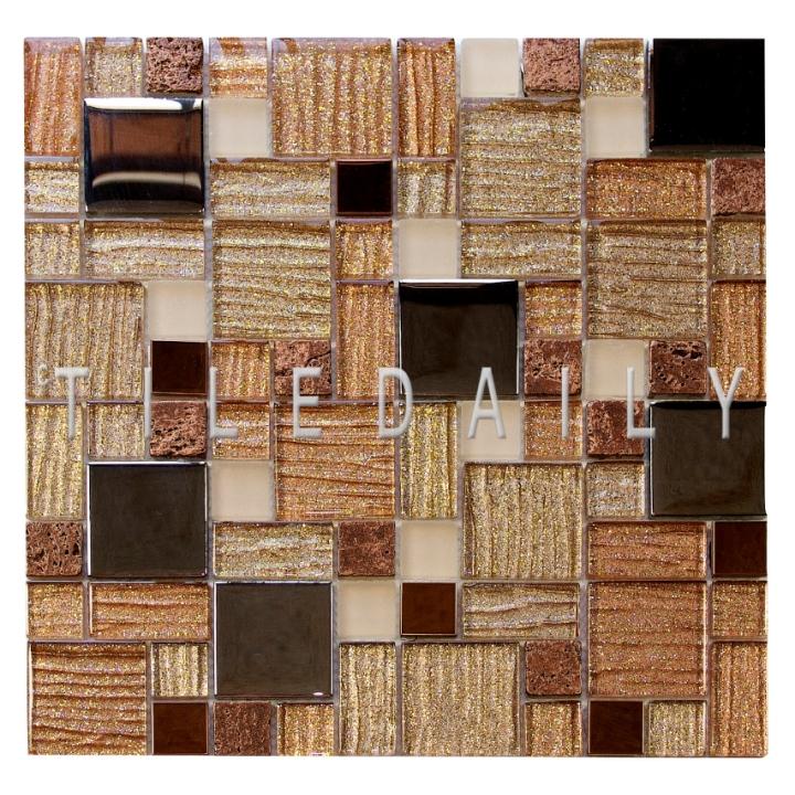GM0139BN - Glitter Mix Glas Mosaic, Brown