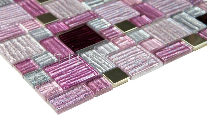Glitter Mix Glass Mosaic, Purple andBrown