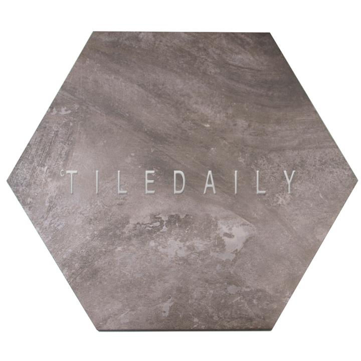 "P0092DGY - 21"" Hexagon Cement Porcelain Tile, Dark Grey"