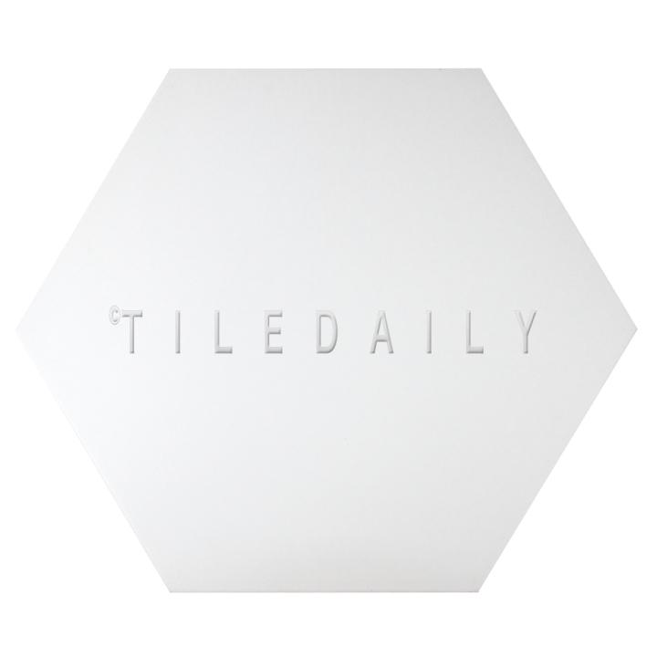 """P0092WE - 21"""" Hexagon Cement Porcelain Tile, White"""