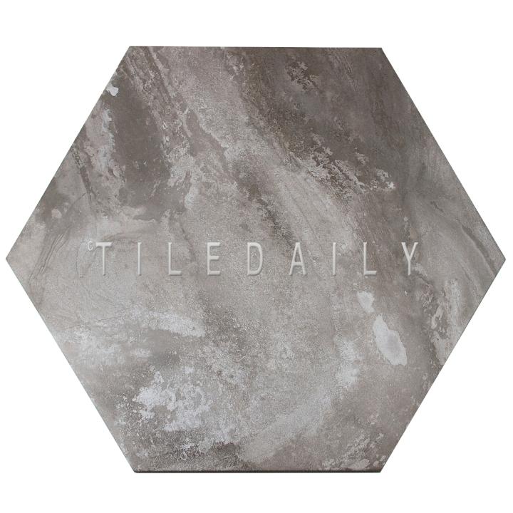 "P0092GY- 21"" Hexagon Cement Porcelain Tile, Grey"