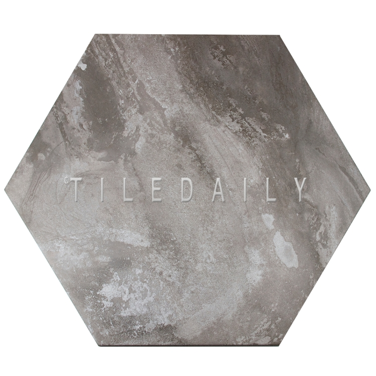 "P0092GY- 21"" Hexagon Cement Porcelain Tile, Grey"