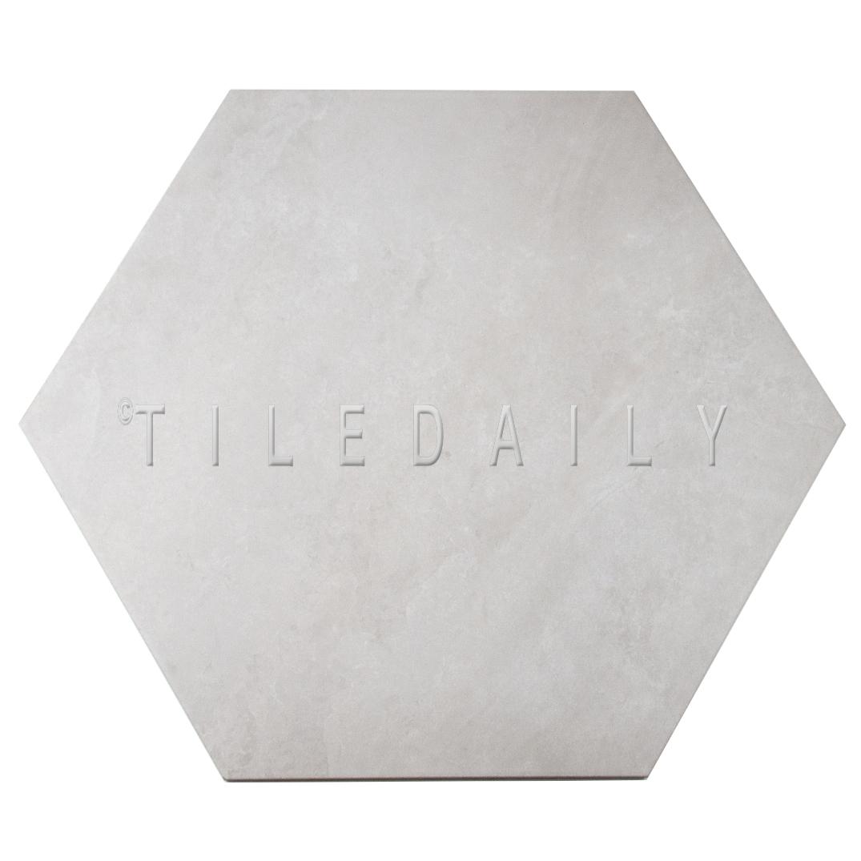 """P0092LGY - 21"""" Hexagon Cement Porcelain Tile, Light Grey"""