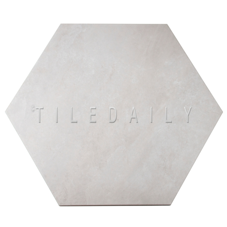 "P0092LGY - 21"" Hexagon Cement Porcelain Tile, Light Grey"