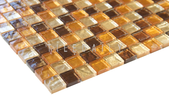 GM0138 - Satin Gold Glass Mosaic Tile