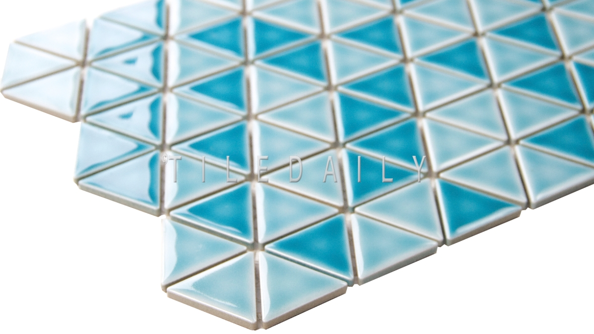 PM0077 - Turquoise Triangles Porcelain Mosaic