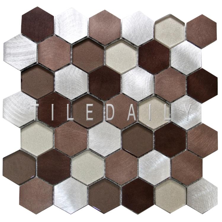 SS0009BZ - Brushed Aluminum Hexagon Glass Mix Mosaic, Silver Bronze