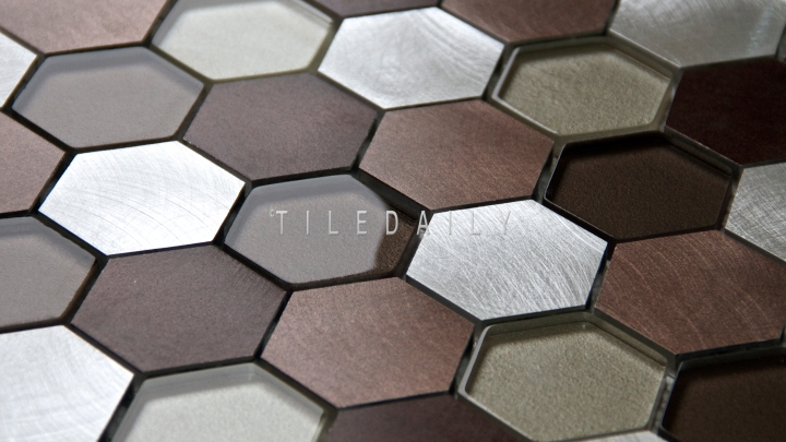 SS0009BZ - Brushed Aluminum Hexagon Glass Mix Mosaic, Silver Bronze