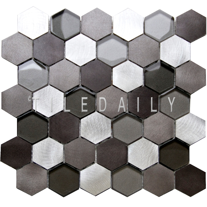SS0009SR - Brushed Aluminum Hexagon Glass Mix Mosaic, Silver Grey