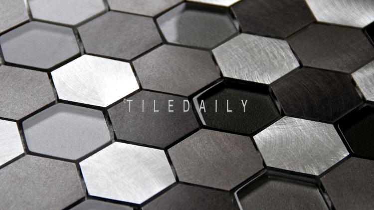 SS0009SR - Brushed Aluminum Hexagon Glass Mix Mosaic, Silver Grey