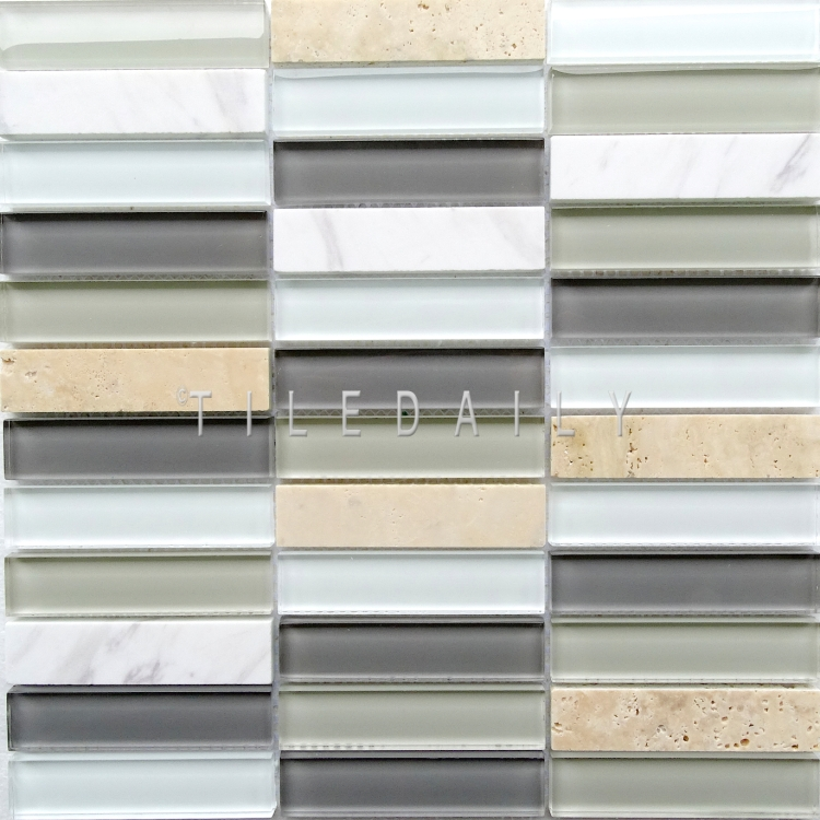 Glass and Marble Bars Mosaic, Light Grey at TileDaily