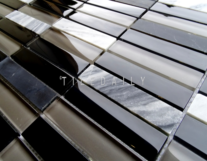 Glass and Marble Bars Mosaic, Mix Black at TileDaily