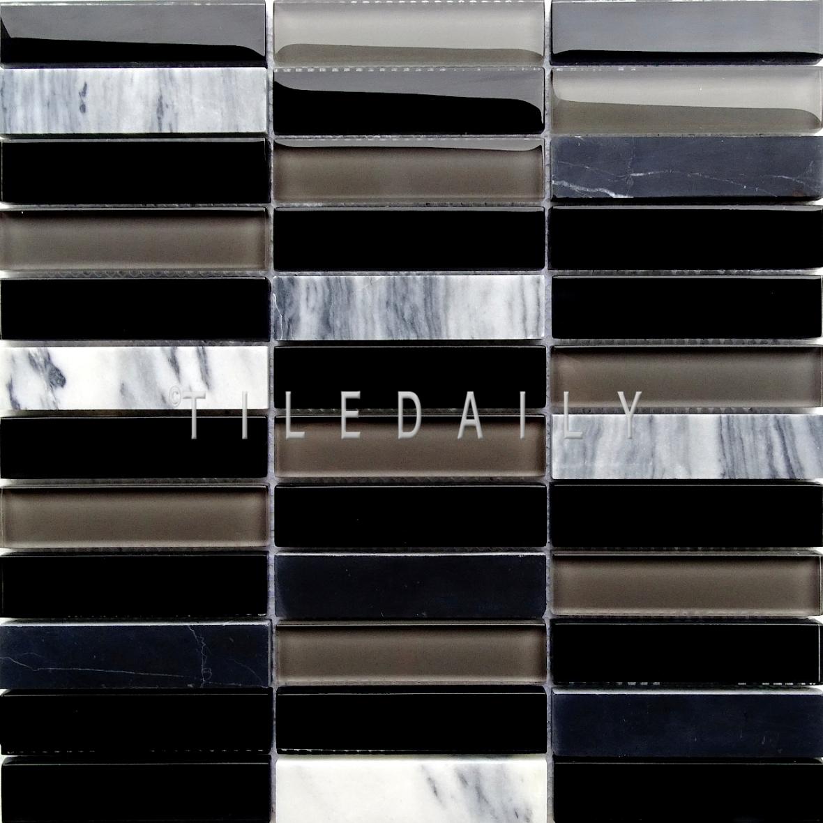 Glass and Marble Bars Mosaic, Black at TileDaily