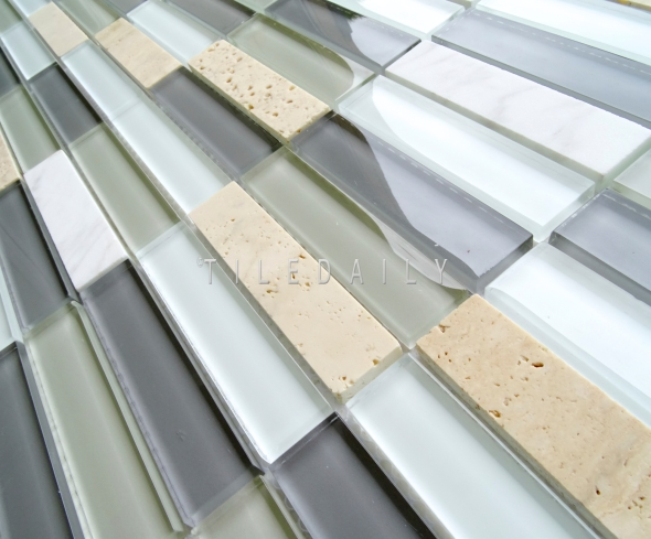 GM0141LGY - Glass and Marble Bars Mosaic, Light Grey