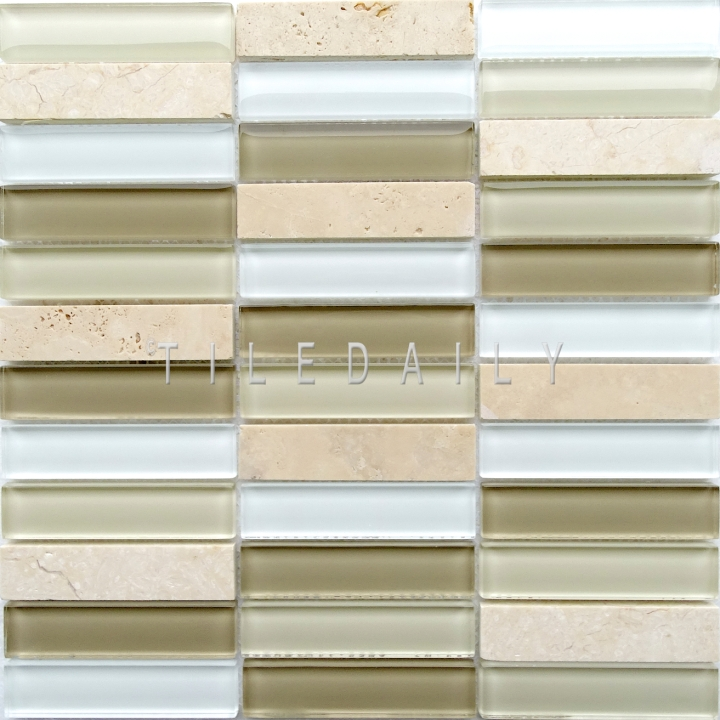 Glass and Marble Bars Mosaic, Light Beige at TileDaily