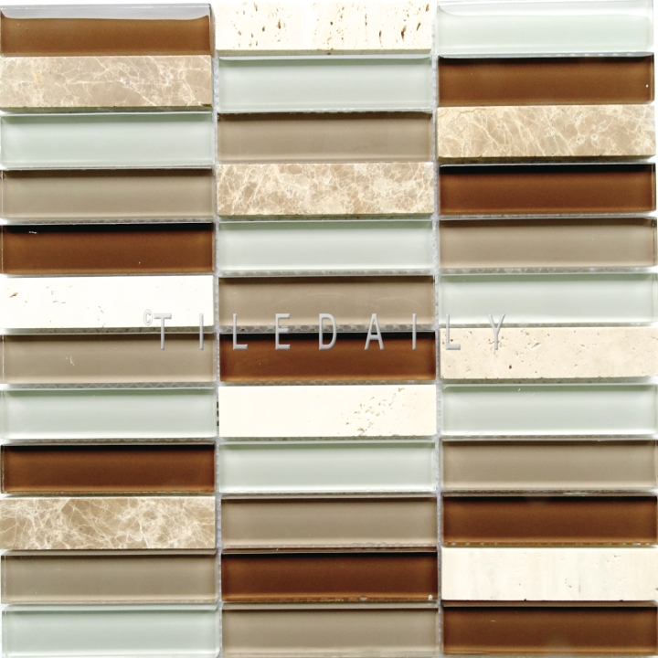 GM0141LBN - Glass and Marble Bars Mosaic, Light Brown at TileDaily