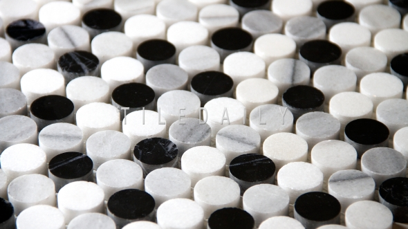 NS0043BW - Marble Penny Round Mosaic, Mix Grey