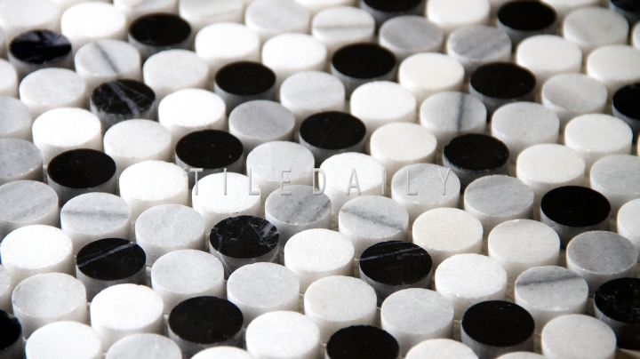 Marble Penny Round Mosaic, Black and White