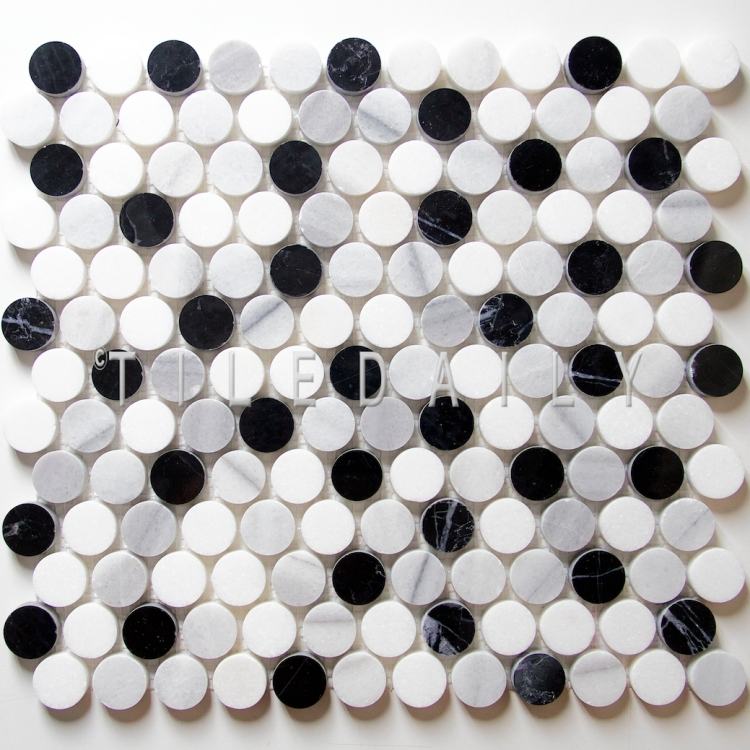 NS0043LGY - Marble Penny Round Mosaic, Mix Grey