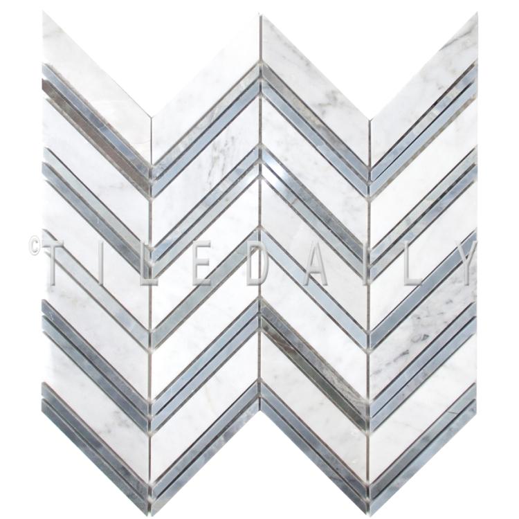 NS0081 - Chevron Mix Blue Marble Mosaic