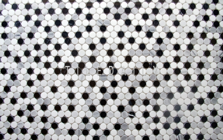 NS0043BW - Marble Penny Round Mosaic, Mix Grey