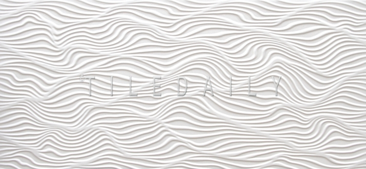 12x24 Ripple Wave Porcelain Tile, Pearl White at TileDaily