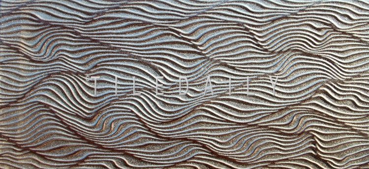 12x24 Ripple Wave Porcelain Tile, Metallic Iron at TileDaily