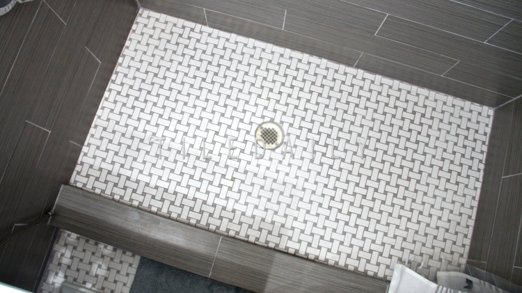 6x24 - Bamboo Pattern Porcelain Tile and Basket Weave Porcelain Mosaic With Grey Dot