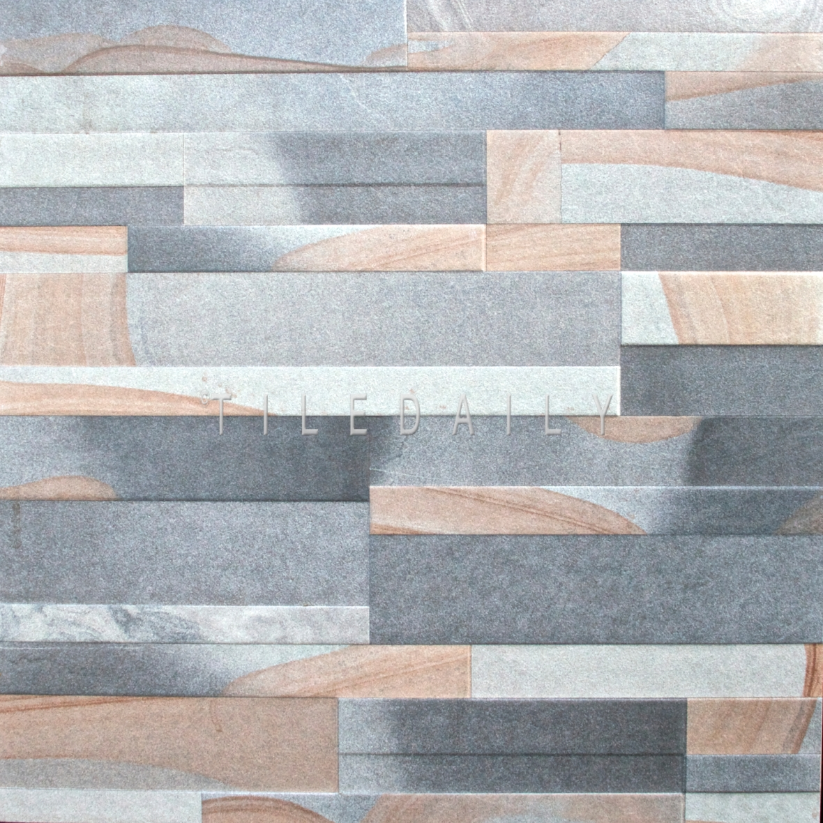 24x24 Sandstone Ledger Porcelain Tile, Grey at TileDaily