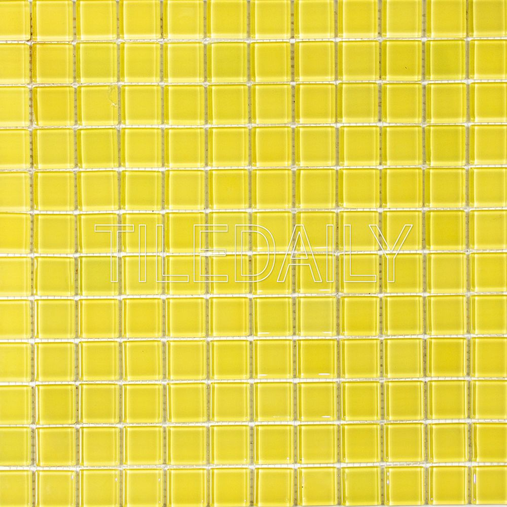 1x1 Yellow Glass Mosaic Tile, Available at TileDaily