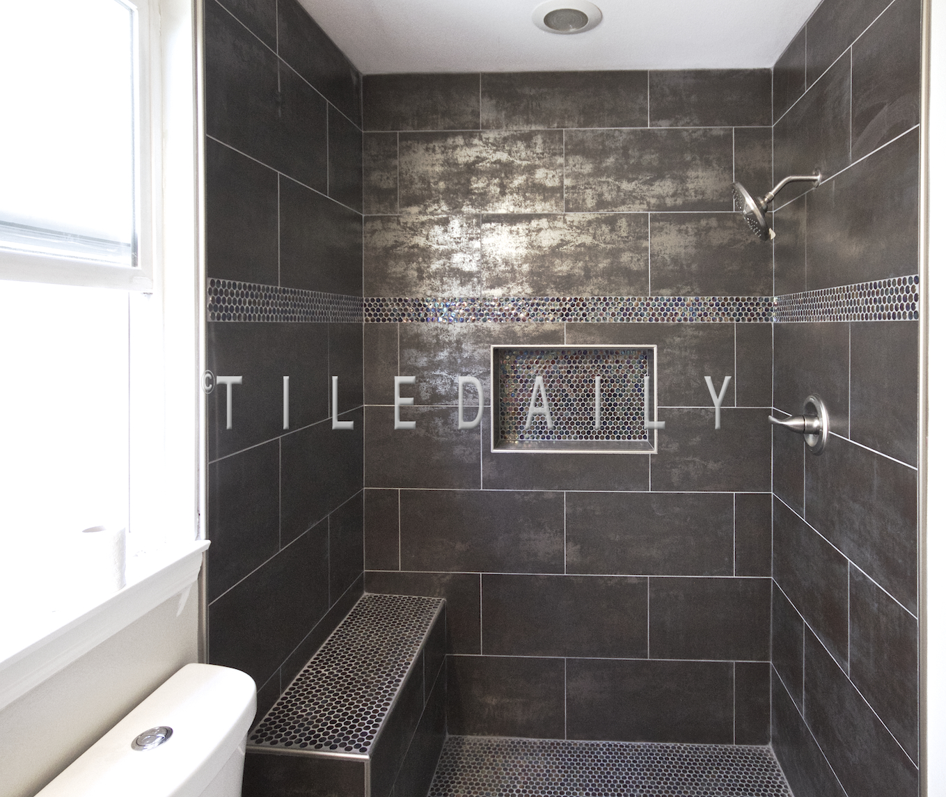 Bathroom Install Metallic Iron Porcelain Tile Tiledaily - Metallic bathroom tiles