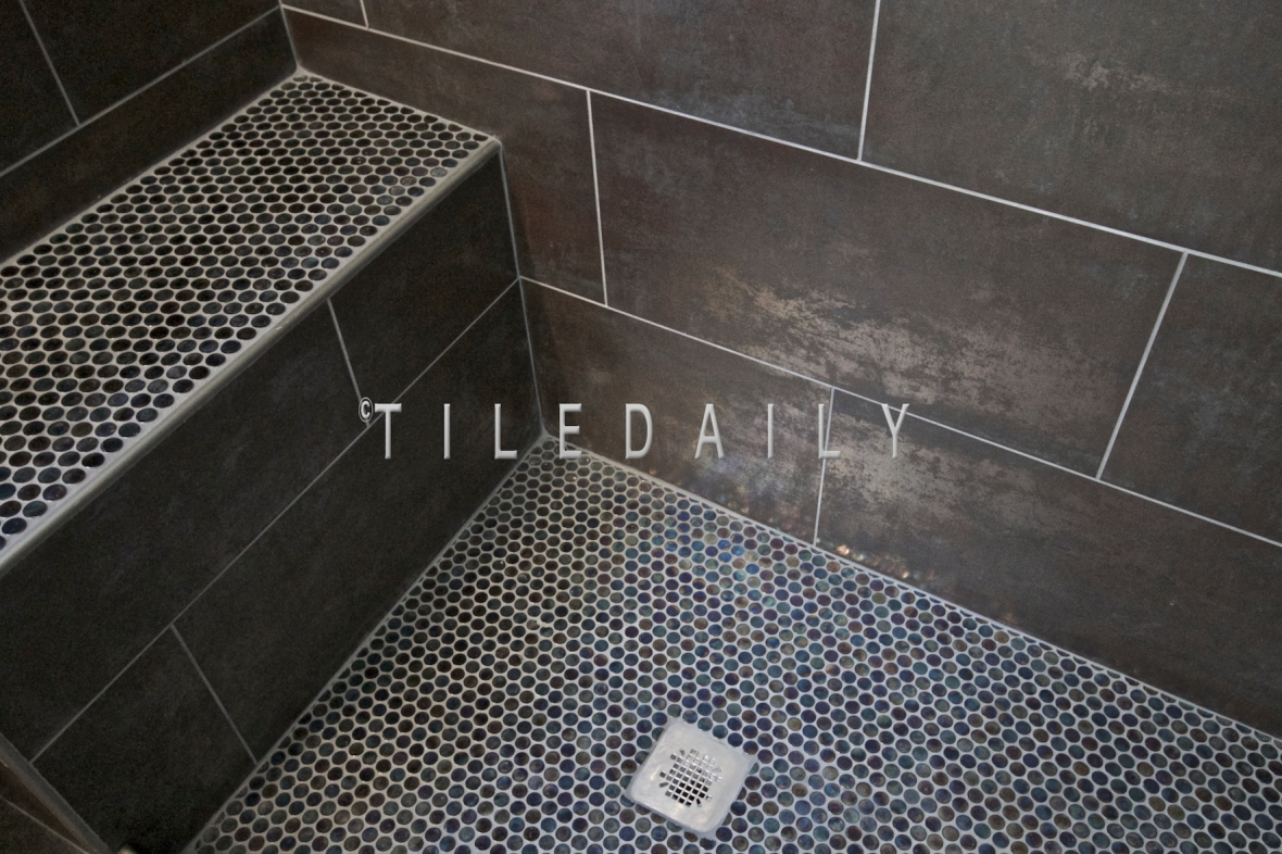 penny tile bathroom floor metallic iron shower wall and shower floor 19945