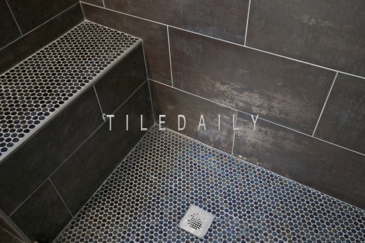 Installation, Bathroom, Corona, CA.  Tile Code: MP0041SR Metallic Porcelain, with a matte finish, & GM0012PE Purple Iridescent Glass Mosaic