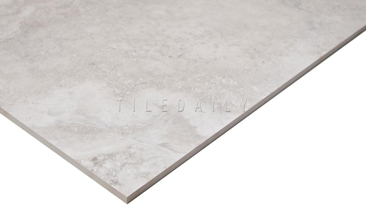 Light Grey Travertine Porcelain Tile, large format, TileDaily