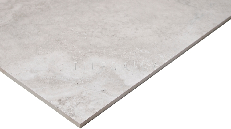 Light Grey Travertine Porcelain Tile, large format, TileDaily