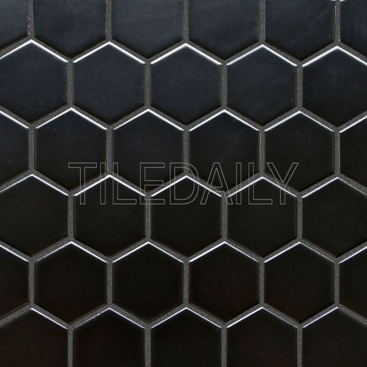 2″ Hexagon Porcelain Mosaic, Black and White