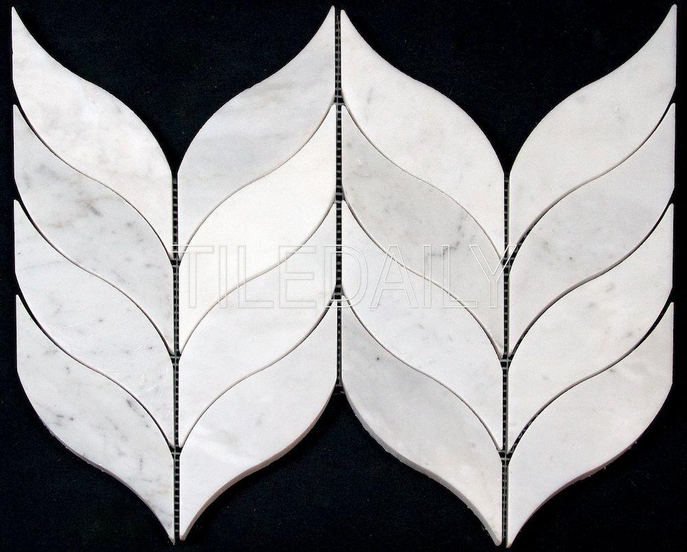 NS0083 Leaf Marble Mosaic, Carrara Marble. Available at TileDaily