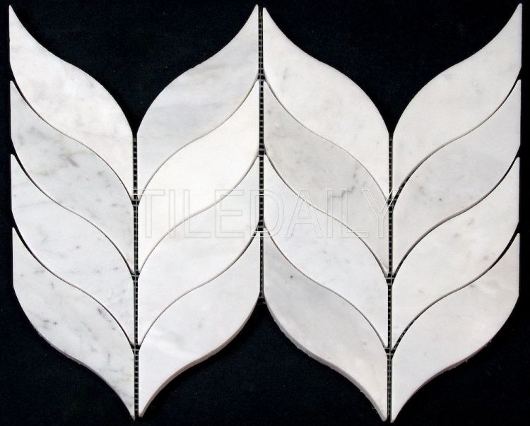 NS0083 Leaf Marble Mosaic, Carrara Marble. Available at TileDaily