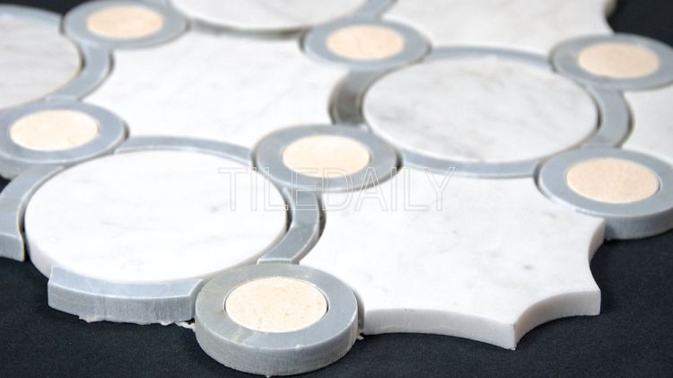 Orbit Circles Marble Mosaic Tile