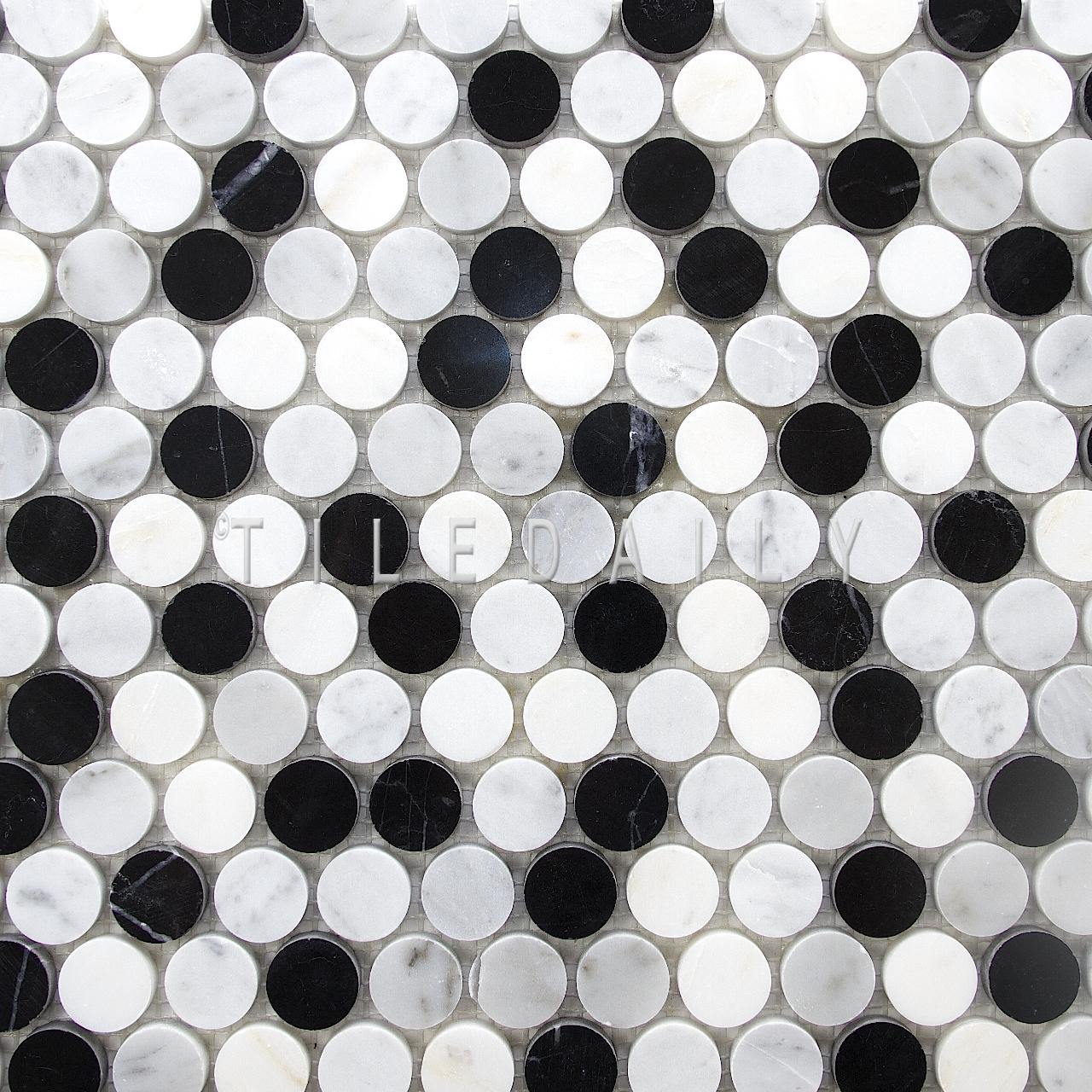 NS0043BK - Marble Penny Round Mosaic, Mix Black