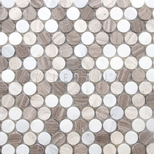 NS0043BG Penny Round Mosaic featuring wood marble and carrara.