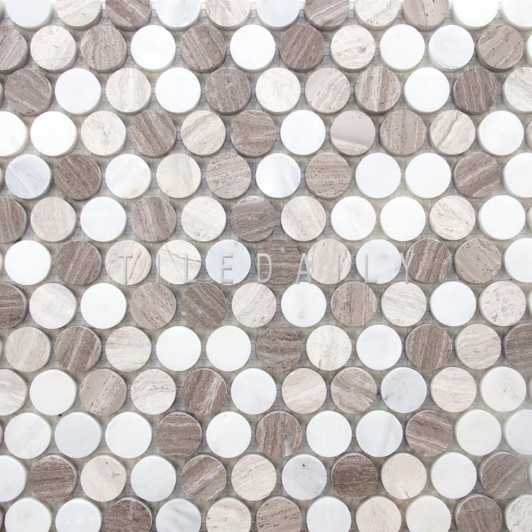 NS0043BG - Marble Penny Round Mosaic, Mix Beige
