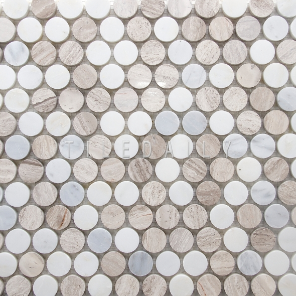 NS0043LBG Natural marble penny round mosaic featuring a lighter color tone from oak marble and carrara.