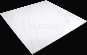 Beautiful 24x24 format Carrara porcelain tile from TileDaily with soft veins and character.