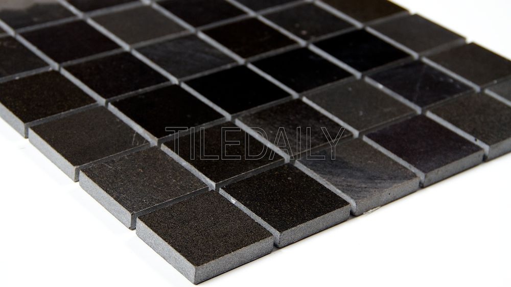 2x2 Natural Stone Mosaic Tile in Polished Black, Black Granite at TileDaily
