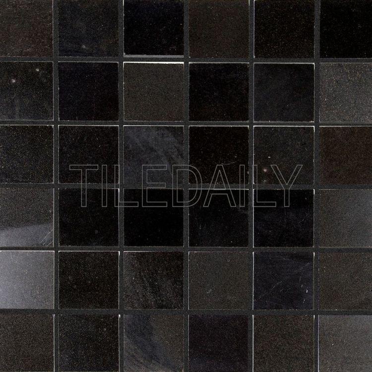 2x2 Natural Stone Mosaic Tile in Polished Black, Black Granite at TileDaily