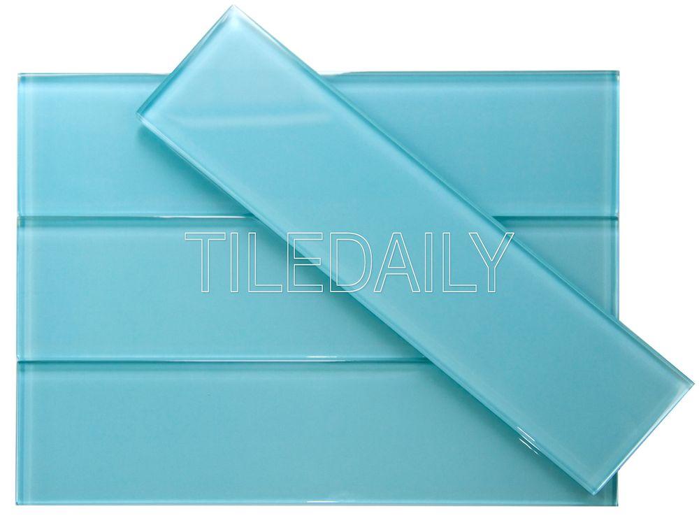 3x12 Bright Aqua Blue Glass Subway Tile at TileDaily