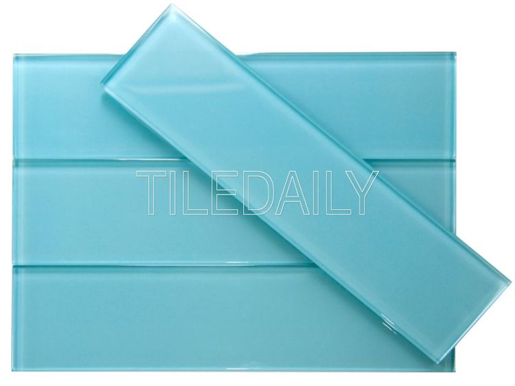 3x12 Bright Aqua Blue Glass Subway Tile at TileDaily