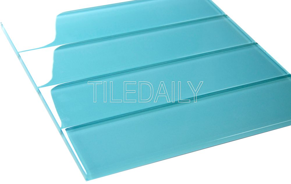 3x12 Bright POP Blue Glass Tile at TileDaily