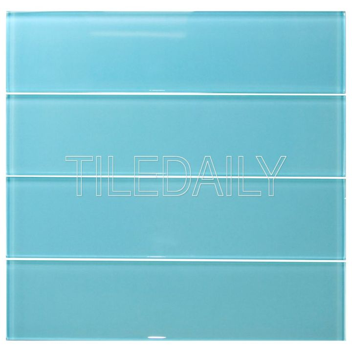 3×12 Glass Subway Tile, Turquoise Blue
